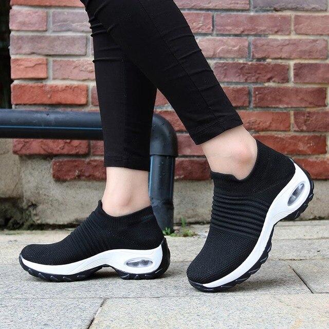 Tênis feminino, tênis meia preto plataforma macio confortável para moças sapatos para mulheres primavera 2019