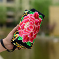 NEW 2016 Womens Day Clutch Bags National Elegant Handmade Embroidered Purse 3 layer Zipper Canvas With Peony Floral Design