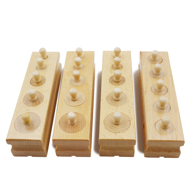 Baby Leksaker Trä Montessori Set Socket Of Cylinder Baby Early Learning 4 delar / set Träleksaker pedagogisk gåva