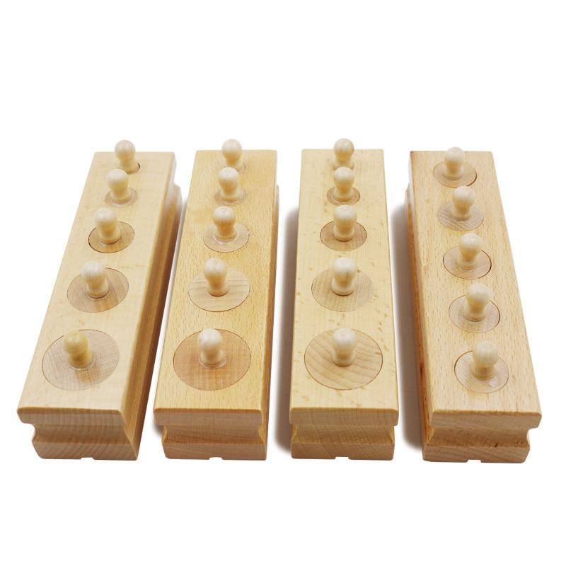 Bayi Mainan Kayu Montessori Set Socket Of Silinder Bayi Pembelajaran Awal 4 Pieces / Set Mainan Kayu Hadiah Pendidikan