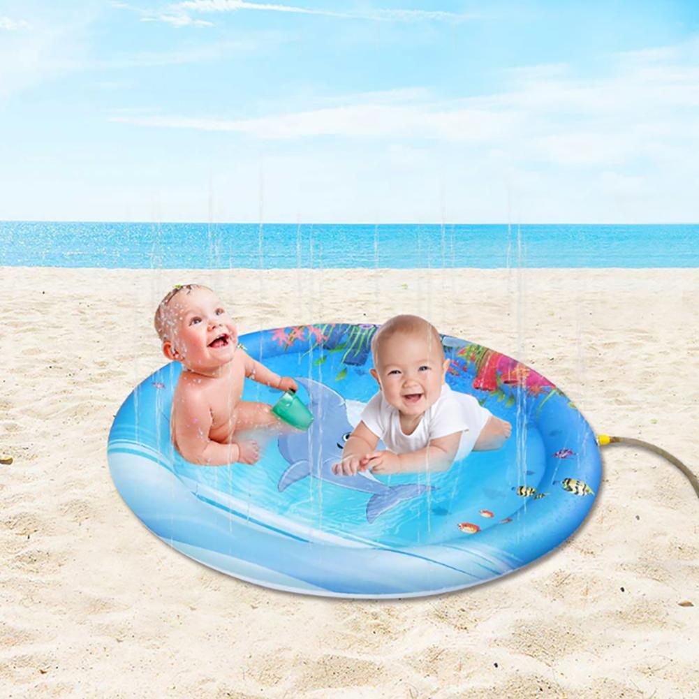 100cm Marine Inflatable Baby Water Pad Outdoor Sprinkler Kids Infants Splash Mat Baby Fun Activity Play Center Toys For Children