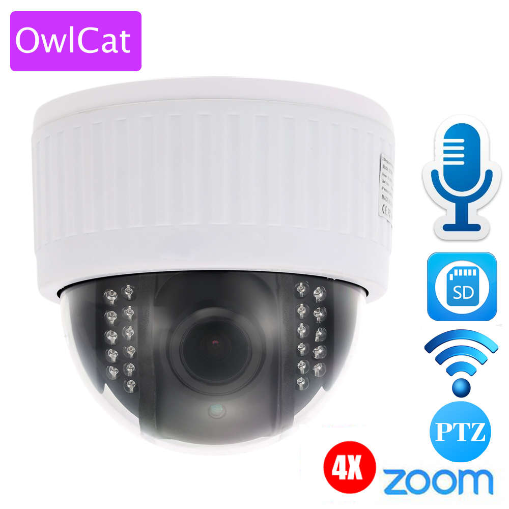 OWLCAT White 1080P Full HD Indoor WiFi PTZ IP Dome Camera 4x Zoom Wireless Video Surveillance CCTV Audio SD IR Night Onvif P2P ptz ip camera 1080p onvif h 264 3x zoom full hd p2p indoor plastic dome 15m ir night vision 2mp p2p surveillance camera