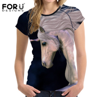 FORUDESIGNS Fashion Women Summer T Shirt Unicorn Horse 3D Printed Short Sleeve Tops Tee Shirts Female