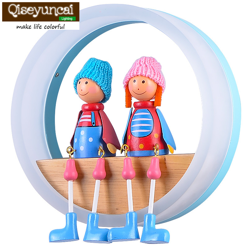 qiseyuncai 2018 Boy girl cartoon round bedroom wall lamp creative modern minimalist warm LED eye care children room bedside lamp qiseyuncai american children s room england soldier legion wall lamp boy girl bedroom lighting free shipping