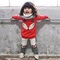 2017 Nova Outono inverno vermelho Do Bebê conjunto de Roupas Meninas Encantadoras das Crianças roupas 2 PCS Raposa Dos Desenhos Animados Grosso Manga Comprida Tops + Pant Set