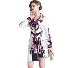 PADEGAO Female Long-Sleeve Shirt Dress V-neck Lapel Irregular Print White Tied Dresses Spring 2019  Women Elegant Vintage Casual