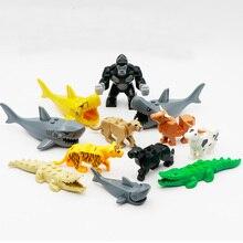 Legoingly строительные блоки животных Крокодил корова Осьминог Акула зоопарк фигурки аксессуары друзья кирпичи развивающие игрушки для детей