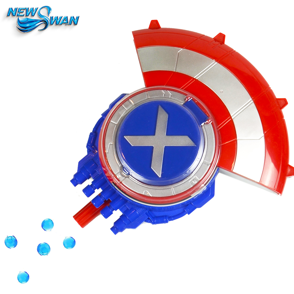 цена на The Avengers Shield Water Gun with Goggles Soft & Water Bullets Captain America Shield Shooting Water Crystal Gun Toys