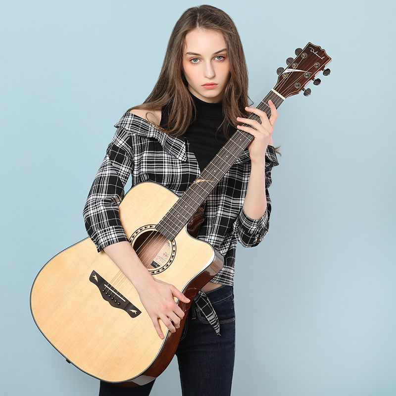 Dadarwood 41 inch solid top guitar, beginner folk acoustic guitar student men and women, free shipping(China)