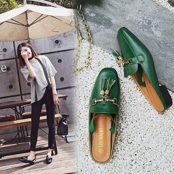 Zapatos Planos De Diseño | Zapatos De Mulas De Talla Grande Para Mujer 40 41 42sandalias De Tamaño Grande Cadenas De Borla Zapatillas De Diseño De Hebilla De Metal Mulas Cuadradas De La Correa Trasera Del Dedo Del Pie