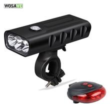 купить WOSAWE Rechargeable Bicycle Light Cycling Riding Flashlight Waterproof Bike Headlight MTB Bicycle Front Lamp Laser Taillight по цене 1034.93 рублей