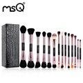 MSQ Profissional Ouro Rosa Double ended Maquiagem Conjunto de Pincel de Blush/Pó/Foundation/Pincel de Sombra