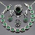 Verde Rodada Criado Esmeralda Conjuntos de Jóias de Cor Prata Colar Pingente Pulseiras Brincos Anéis Para As Mulheres Caixa de Presente Livre