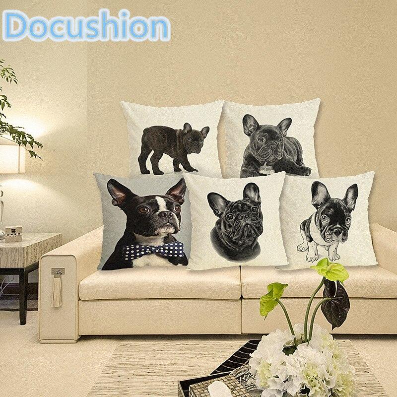 Черные собаки Стиль Подушка Дело белье милая собака печатных Чехлы Диван Кровать Декоративные подушки Throw Almofadas Cojines 43x43 см