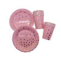 Gold folie sterne rosa einweg geschirr set papier fach tasse geschirr papier fach hochzeit geburtstag party dekoration