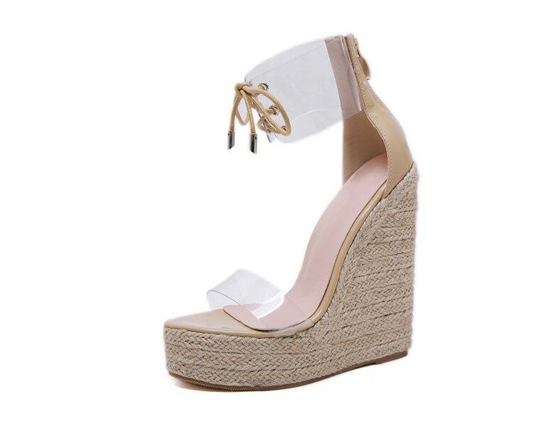 HTB1V56Rcv1H3KVjSZFBq6zSMXXa1 Aneikeh Fashion PVC Sandal Women Transparent Sandals Lace-Up Wedges High Heels Black Gold Party Daily Pumps Shoes Size 35-40