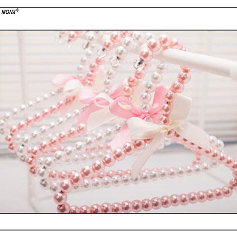 1pcs Children Plastic Pearl Hanger Baby Hangers For Clothes Kids Plastic Cloth Hanger pink white MI9