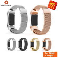 Mijobs Magnetic Metal Strap For Fitbit Charge 2 Replacement Stainless Steel Wristband Smart Watch Band For Fitbit Charge 2 Band hot sale fabulous genuine stainless steel bracelet smart watch band strap for fitbit charge 2 drop shipping wholesale