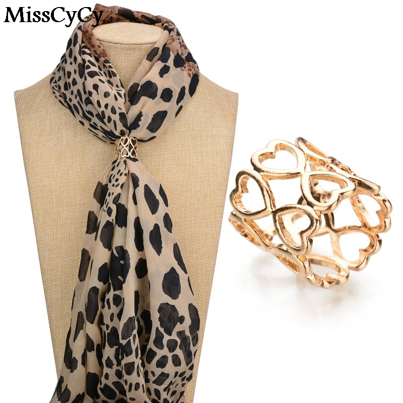 MissCyCy Hot Sale Fashion Jewelry High Quality Gold Color Hollow Heart Scarf Clips Broches Women Lapel Pin