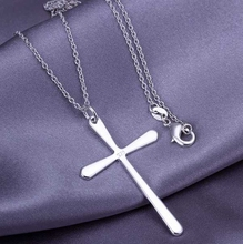 wholesale silver plated pendant,925 fashion Silver jewelry bright cross pendants necklace for women/men +chain SP066