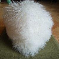 2016 Real Genuine White Two Sides Mongolian Tibet Lamb Fur Throw Sofa Throw Pillow Cushion Cover