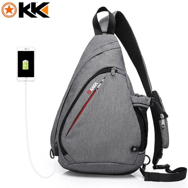 Кака 2018 Новое поступление мужской Сумки на плечо зарядка через USB Сумки через плечо Для мужчин anti theft Грудь сумка летние шорты поездки приколы сумка