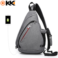 KAKA 2018 New Arrival Male Shoulder Bags USB Charging Crossbody Bags Men Anti Theft Chest Bag