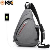 KAKA 2018 New Arrival Male Shoulder Bags USB Charging Crossbody Bags Men Anti Theft Chest Bag
