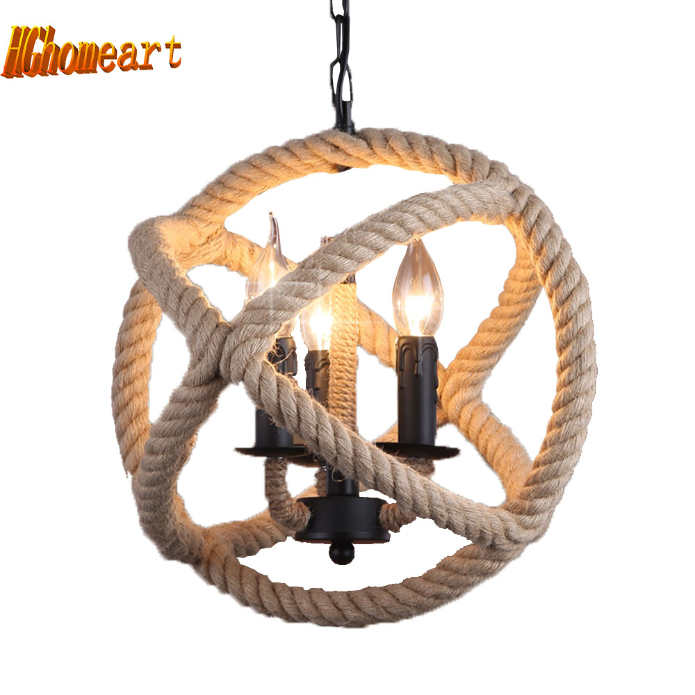 Retro Hemp Rope Pendant Lamp American Industrial Creative Night Light E14 Attic Living Room Lighting Decoration