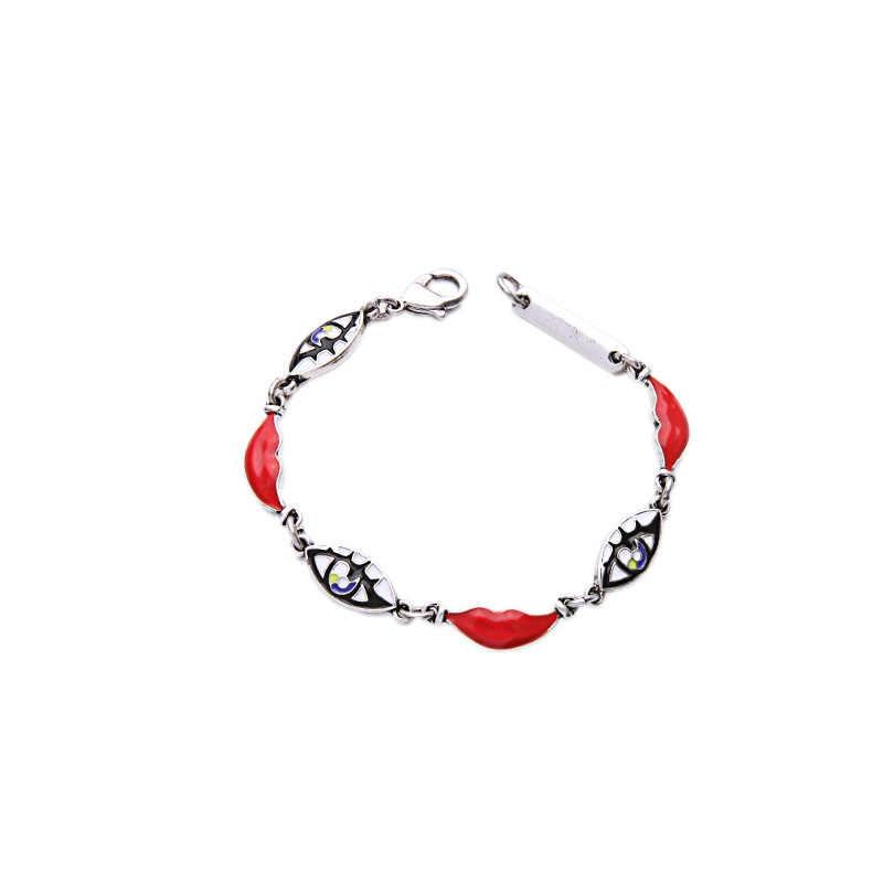 2016 Hot Sale Designer Jewelry Enamel Eye Red Lip Bracelet Silver Color Nifty Statement Bracelet Feminine