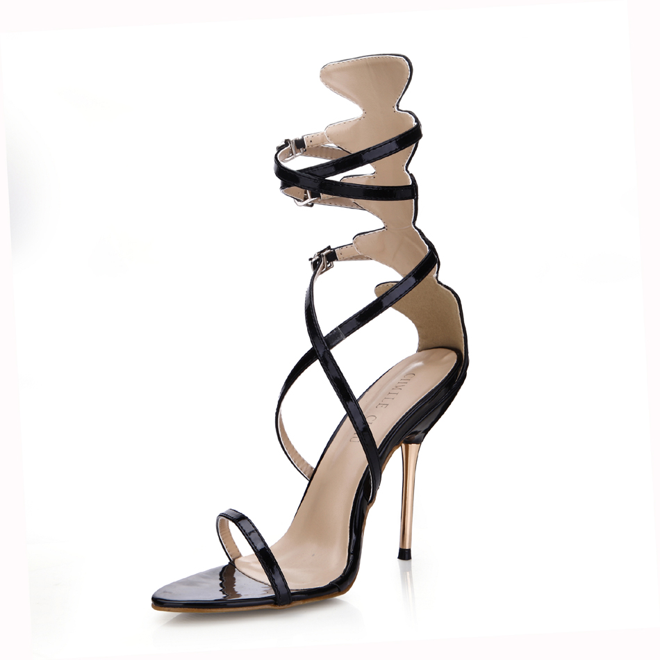 CHMILE CHAU Black Sexy Dress Party Shoe Women Stiletto Iron High Heel Ankle Strap Buckle Sandal Zapatos Mujer Plus Size 3845C 6a in High Heels from Shoes