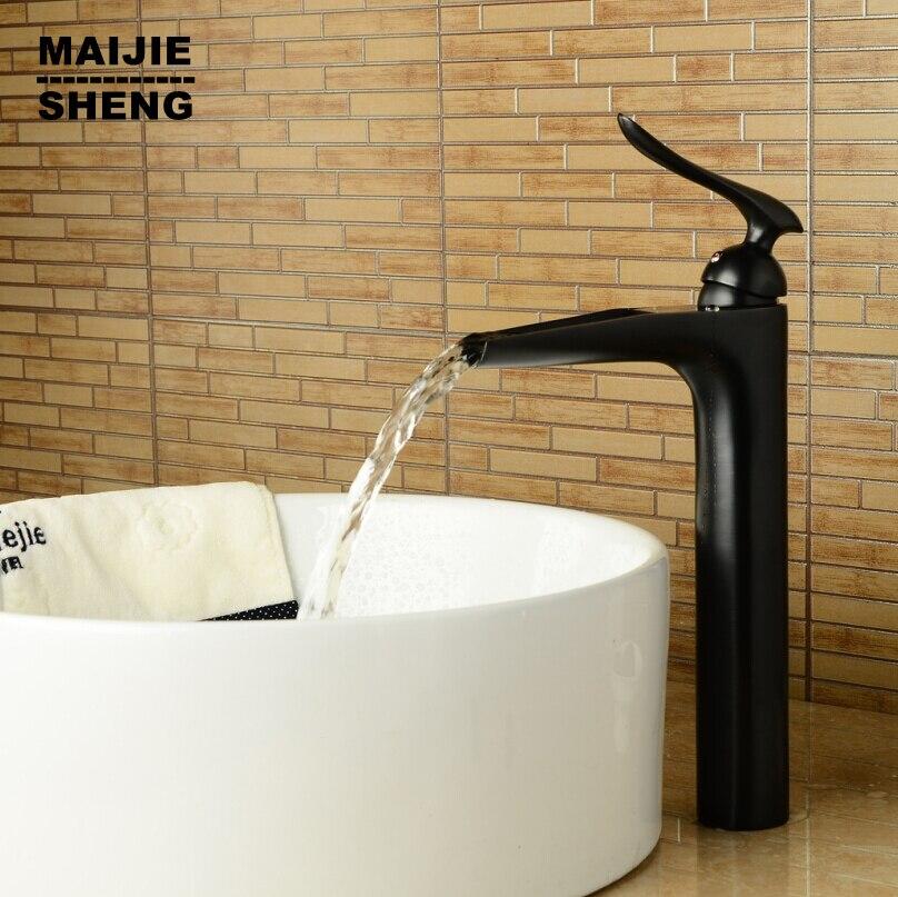 Bathroom tall faucet black basin faucet waterfall sink mixer oil brushed water faucet black bathroom faucet black high tap tall tales