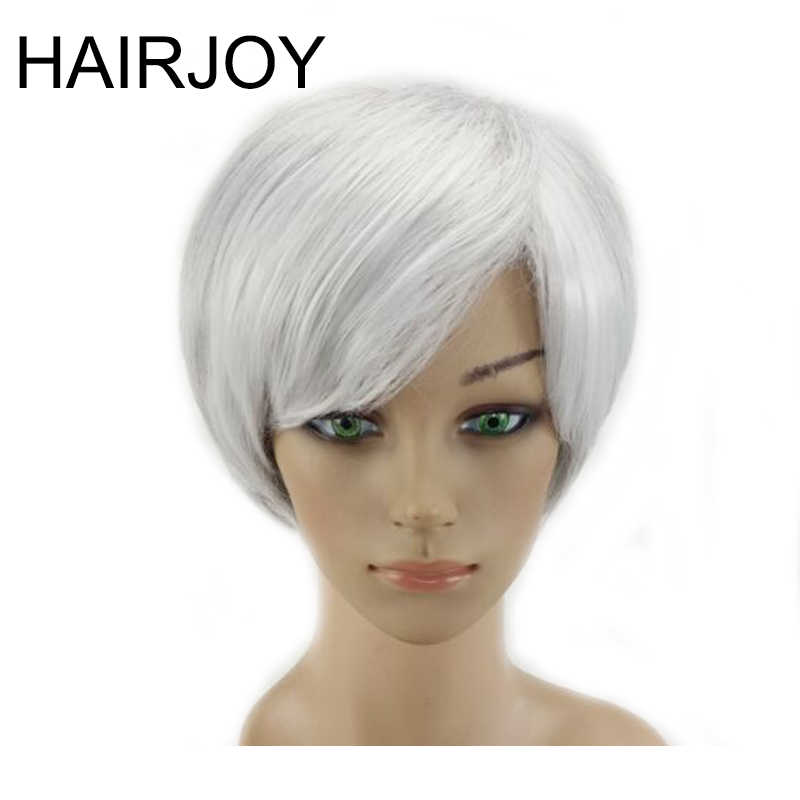 HAIRJOY Synthetic Hair Woman Gray White Ombre Color Wig Short Straight Heat Resistant Wigs