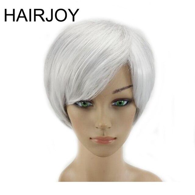 HAIRJOY Donna Grigio Bianco Colore Ombre Parrucca Breve Rettilineo Natrural Capelli  Sintetica Resistente Al Calore Parrucche 70a14cb03b74