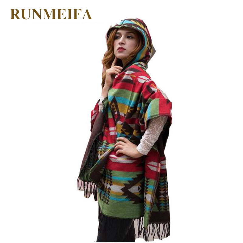 Fringe Ethnic Geometric Cardigan Sweater winter Hooded Outwear Wool Blend Ethnic style print Blanket Cloak Women's Poncho Cape