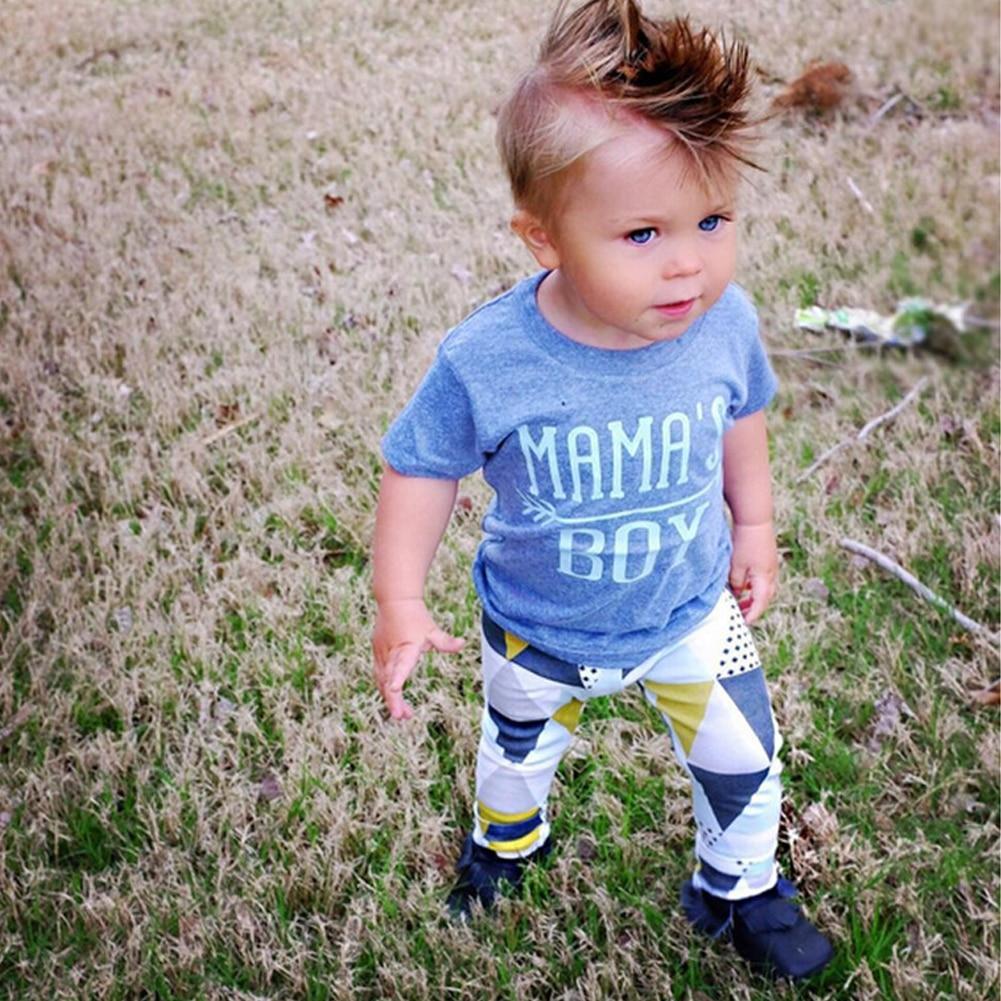 2Pcs Summer Baby Boy Clothes Set 2017 New Kids T-shirt Cotton Short Sleeve T-Shirt+Pattern Printed Pant Clothing Set for 0-24M