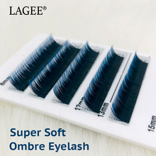 LAGEE Free shipping 6Rows Ombre Blue Color Eyelashes Extension Individual Faux Mink False Eye Lashes Professional Salon Use
