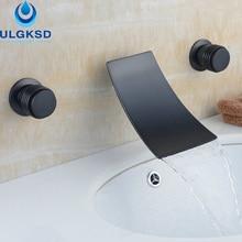 Ulgksd масло втирают Бронзовый бассейна и ванная комната кран настенное крепление Водопад смеситель для ванны горячей и холодной смесители воды