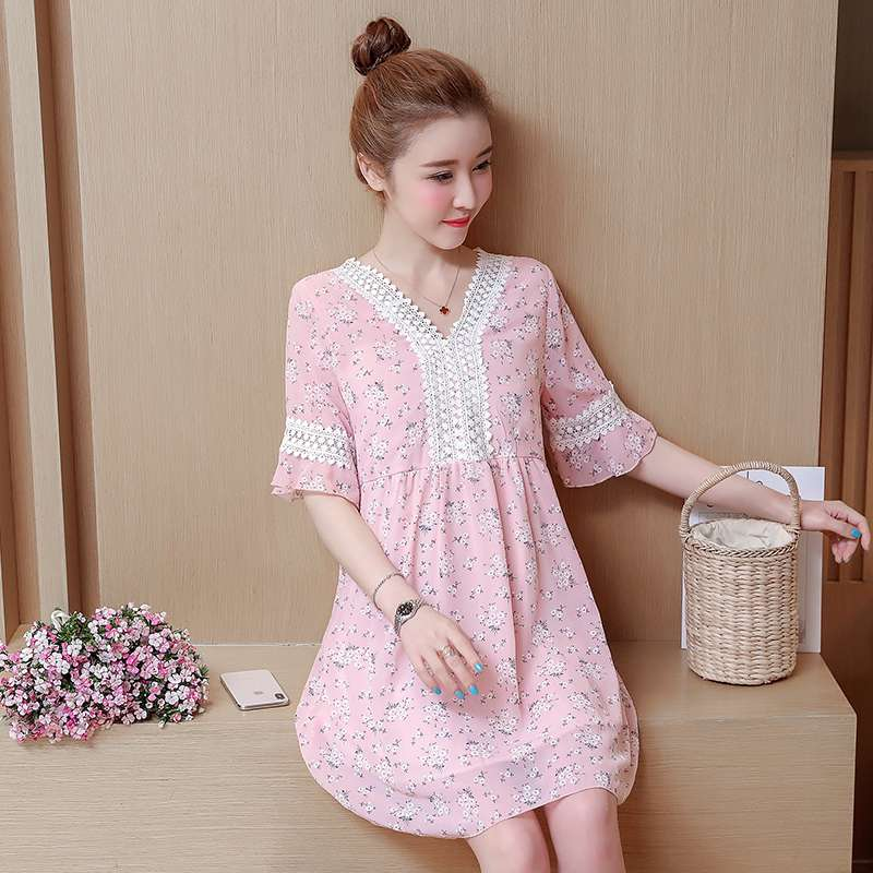 цена на Maternity summer new chiffon short-sleeved long section Korean loose pregnant mother wave dress