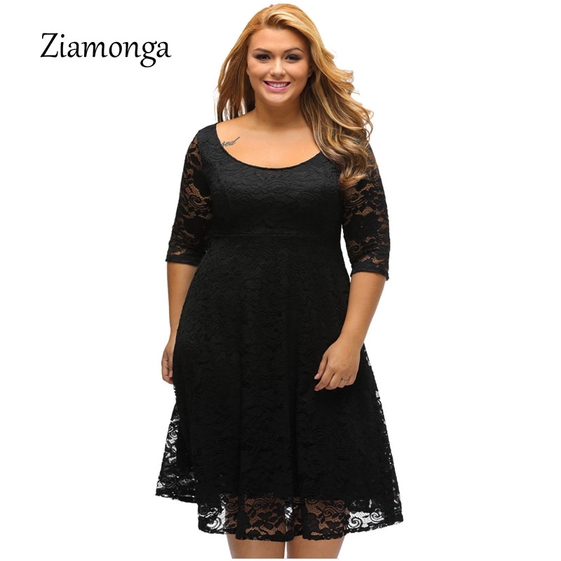 0145def15daf4 Ziamonga Women Autumn Elegant Knee Length Cocktail Party Dresses Casual  Pleated Plus Size Floral Lace Dress Vestido De Renda-in Dresses from Women s  ...