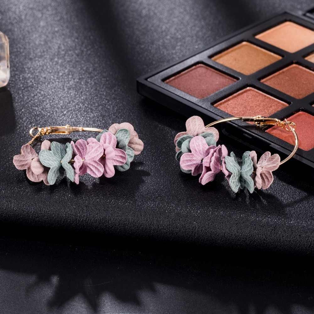 IPARAM Korean 2018 Elegant Fabric Flower Earrings Bijoux Sweety Petal Alloy Ear Circle Big Earrings Charm Brinco For Women