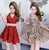 2017 New Free Shipping Ladies Temperament Deep V Dress Evening Slim Fashion Sexy Female Short Sleeved