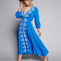 Yackalasi donne del regno unito dress vintage summer dress cotone ricamato lunga tunica dress asimmetrico alto basso hippie di boho dress