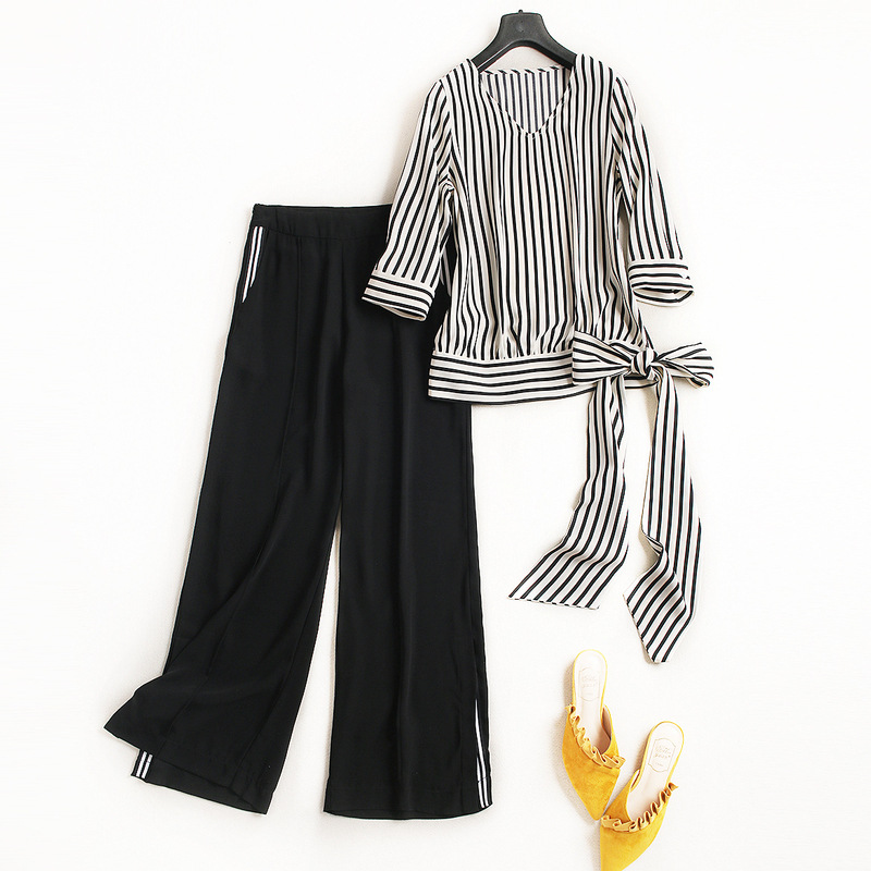 New 2018 Women fashion V-neck 3/4 sleeve bow tie waist striped tops blouse + black split long wide leg pants suit 2 piece set maison jules new red women s size xs striped shimmer tie back blouse $49 091