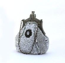Silber Chinesischen frauen Perlen Pailletten Bankett Handtasche Clutch Abendtasche Party Braut Geldbeutel-verfassungs-beutel Freie Verschiffen 03321-E