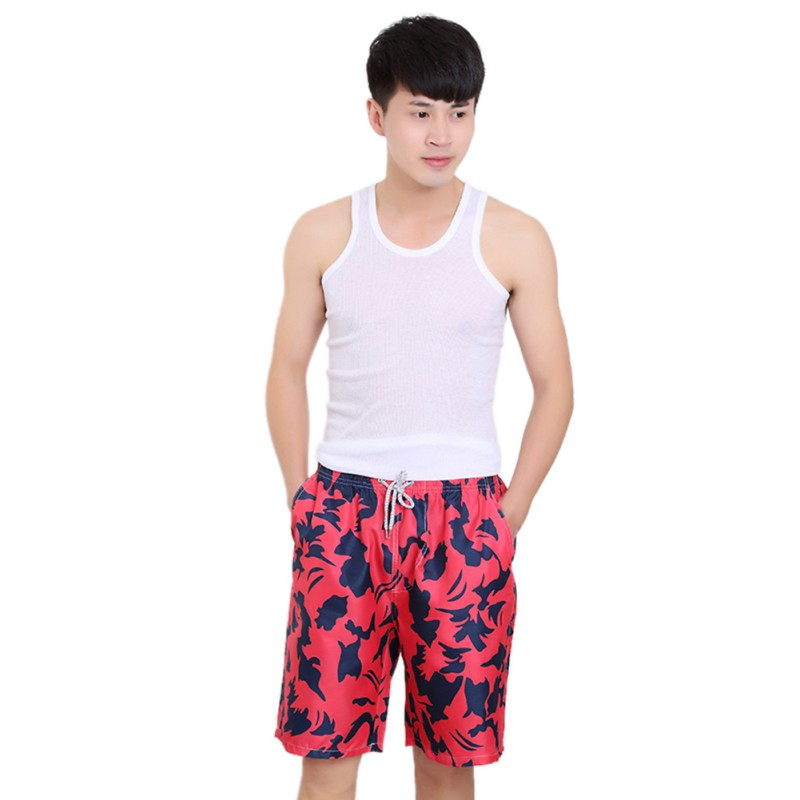 Mens Quick-drying Sports Surf Board Short Beach Swim Pants Men Board Short Quick Dry Calf-Length Sweatpants Cotton Trousers