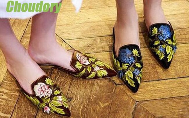 2017 Hot Embroidery Flowers Women Pointed Toe Flats Sexy Slip On Loafers Ladies Slingback Shoes Spring Fashion Flats Size 40 beyarne hot sale new fashion spring women flats shoes ladies bow pointed toe slip on flat women s shoes free shipping size34 40