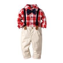 цены Baby Boys Clothes Set Long Sleeve Plaid Gentleman Suit For Boys Children Clothing Cotton Costume For Kids Suits 3Pcs 1-4Y