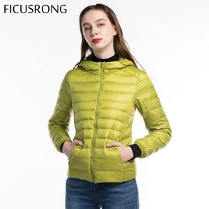 FICUSRONG Woman Candy Color Ultra Light Jacket 2019 New Hooded Women's Autumn Winter Down Jacket Slim Parka Zipper Pockets Coats