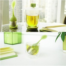 Silicone Tea Infuser Reusable Tea Strainer Sweet Leaf with Drop Tray Novelty Tea Ball Herbal Spice Filter Tea Tool купить дешево онлайн